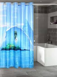 lushomes digitally printed blue shower curtain