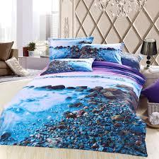 3d blue purple sea beach bedding sets queen size cotton bed sheet quilt duvet covers bedset bedspreads bedsheet linens 4pcs in bedding sets from home