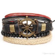 handmade vintage leather bracelets girls women s multi layer jewelry beads rudder charm bracelets men s accessories adjustable rope personalised charm