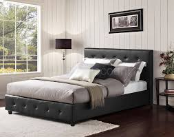 black on tufted faux leather upholstered platform bed strickler faux leather platform bed frame
