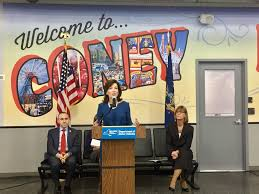 city council member mark treyger l lt gov kathy hochul and dmv exec dep terri egan photo via kathy hochul twitter the coney island