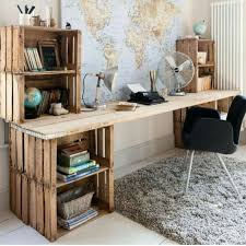 diy office table. upcycling wooden crates storage solutions creative diy office ideas hangling world map table
