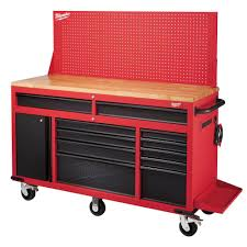 Husky 66 In W 24 In D 12Drawer HeavyDuty Mobile Workbench Work Benches Home Depot