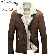brown leather coat whole men winter jacket big size faux fur lined coats from for
