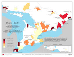 4 ontario percentage change in number of people receiving Map Cas map 4 ontario percentage change in number of people receiving employment insurance regular benefits, january 2011 to map case