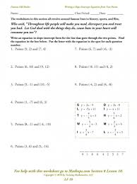 slope intercept form to point slope form worksheet them