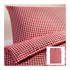 ikea liamaria queen duvet cover pillowcases set red checked gingham double full xmas