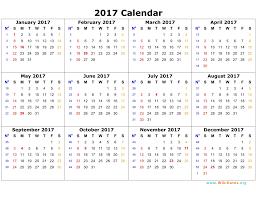 Printable Yearly 2017 Calendar With Twelwe