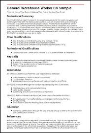 Cv Warehouse Operative General Warehouse Worker Cv Sample Myperfectcv