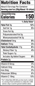 nutrition facts for sea salt kettle cooked potato chips