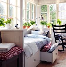 Sunny bedroom with HEMNES daybed in white and NYPONROS quilt cover in blue.  My sun room someday