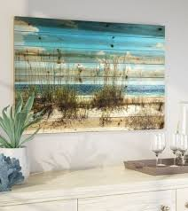 beach art prints on rustic wood