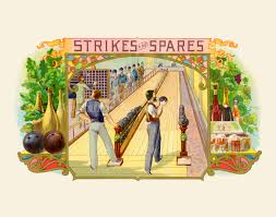 bowling alley beer wine antique advertising reion giclee print vintage style wall decor cigar box label