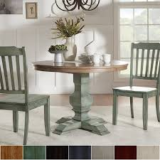 furniture kitchen dining room tables eleanor two tone round solid wood top dining table by inspire q clic