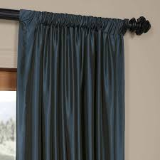 Exclusive Fabrics Solid Faux Silk Taffeta Navy Blue Curtain Panel - Free  Shipping Today - Overstock.com - 14094952