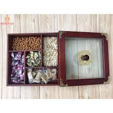 Khay đựng mứt tết gỗ, khay bánh kẹo tết gỗ, hộp bánh kẹo tết, mặt kính mẫu  vuông TS071110