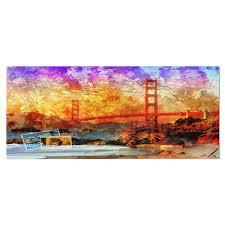 All home decor art & wall decor botanicals curtains & drapes lighting pillows & throws rugs. Designart San Francisco Bridge Contemporary Metal Wall Art Overstock 11868793