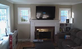 mounting lcd tv over gas fireplace ideas