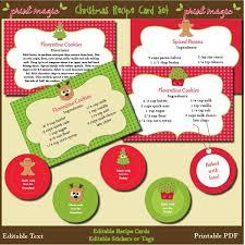 Printable Christmas Recipe Cards Printable Christmas Recipe Card Templates Festival Collections