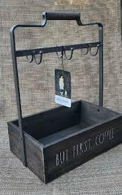 Rae dunn by magenta hip hop ceramic ll coffee mug blue interior. New Rae Dunn But First Coffee Wooden Metal Mug Rack Holder Storage Box 38 00 Picclick