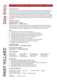 Data Entry Resume Cute Data Entry Sample Resume Free Career Resume