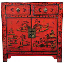 red lacquered furniture. SOLD Red Lacquered Cabinet With Rural Idyll Painting, Shanxi Province, C19th Furniture