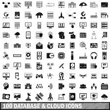 100 のデータベースやクラウド アイコンを設定シンプルなスタイル