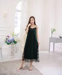 Long Nighty Design 2017 Women Sexy Nighty Sleeveless Long Sleepwear Lace Design