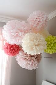 Paper Flower Balls To Hang From Ceiling Tissue Paper Pom Poms Tutorial The Idea Room