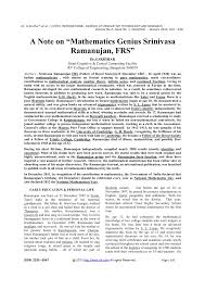 "a note on ""mathematics genius srinivasa ramanujan frs"" pdf  a note on ""mathematics genius srinivasa ramanujan frs"" pdf available"