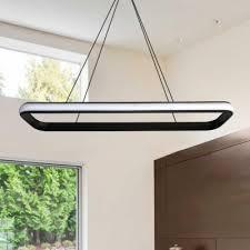 led modern chandelier lighting 36 6 wide round corners and linear frame led rectangular pendant light