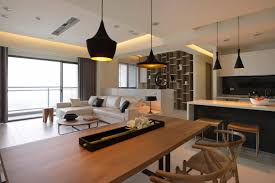 cool and cozy living room custom kitchen dining and living room design