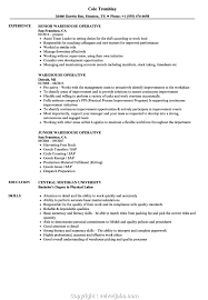 Resume Examples For Warehouse Jobs Template Free Objective