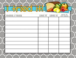 Try New Food Chart Foods Ive Tried Printable Chart For Kids From Darling