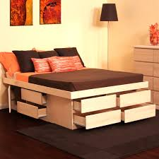 Furniture Natural Wooden Platform Bed Frames With Storage Drawers Striking  Queen Frame
