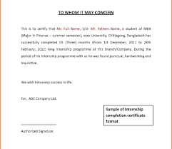 Internship Certificate Letter Format Perfect Intern Completion