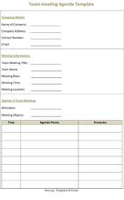 Team Meeting Agenda Template 8ws Templates Forms
