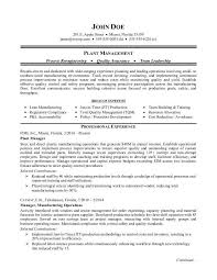 Sample resume for a manufacturing plant manager