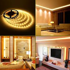 home led strip lighting. LE® 16.4ft/5m Flexible LED Strip Lights, 300 Units SMD 3528 LEDs, 12 V DC Light Strips, 3000K Warm White, 91 Lumens/ft, 1.5 Watts/ft, Non-waterproof, Home Led Lighting R