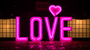 lighting letters. pink neon light up love letters with heart on top lighting t