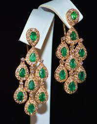 diamond chandelier earrings 4 05ct emerald 6 50ct natural certified solid gold