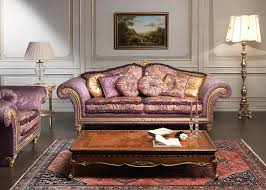 furniture sophisticated living room with frilly purple sofa in front of moroccan table on brown