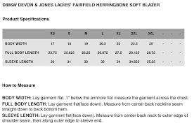 Devon Jones Blazer Size Chart Nasa Apparel