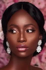 black bride makeup elegant pink shimmer tones natural lips bronze skin iamdodos