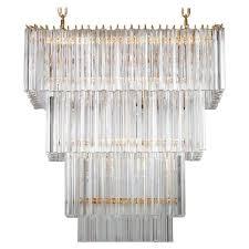 italian rectangular chandelier in murano glass transpa 24 karat gold for