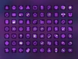 iOS 14 app icons neon purple aesthetic ...