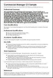 Commercial Manager Cv Sample Myperfectcv