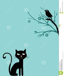 Chat Et Oiseau Sur L Arbre Illustration Stock Image Du Dessin