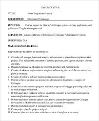 Senior Programmer Job Description Custom Job Description For Application Support Trisamoorddinerco