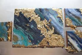 poured resin gold leaf canvas gallery